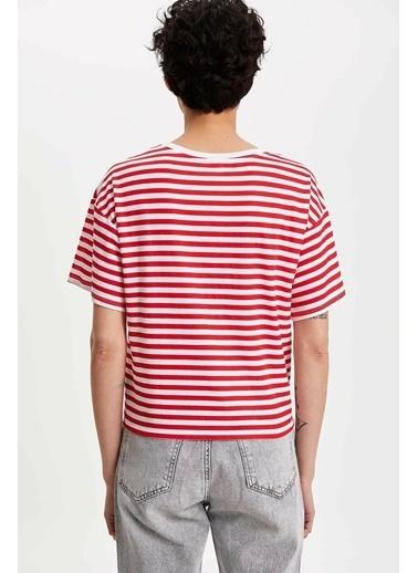 DeFacto Mickey Mouse Baskılı Lisanslı T-shirt Kırmızı